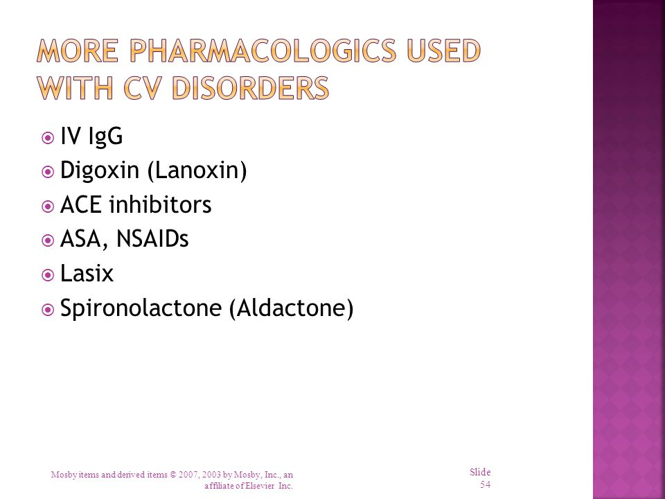 More Pharmacologics Used with CV Disorders