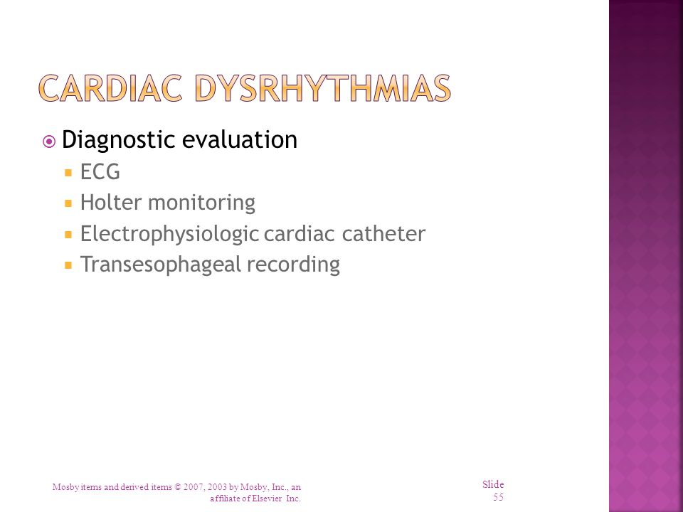 Cardiac Dysrhythmias Diagnostic evaluation ECG Holter monitoring