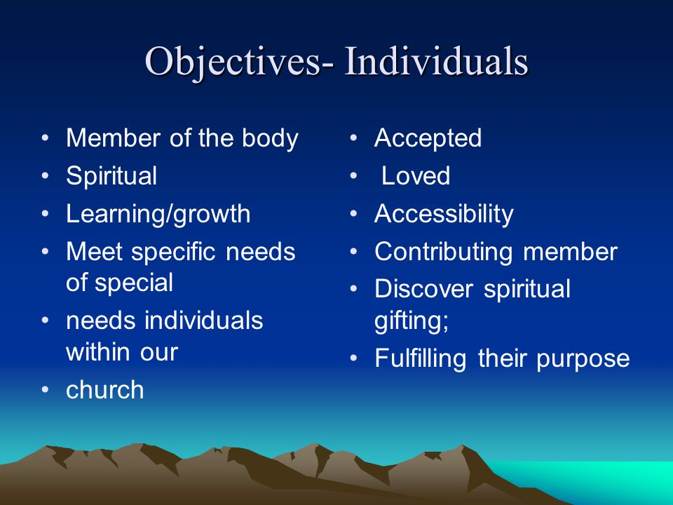 Objectives- Individuals