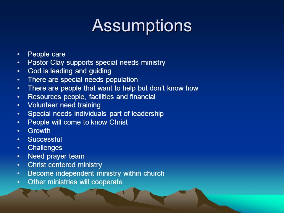 Assumptions People care Pastor Clay supports special needs ministry