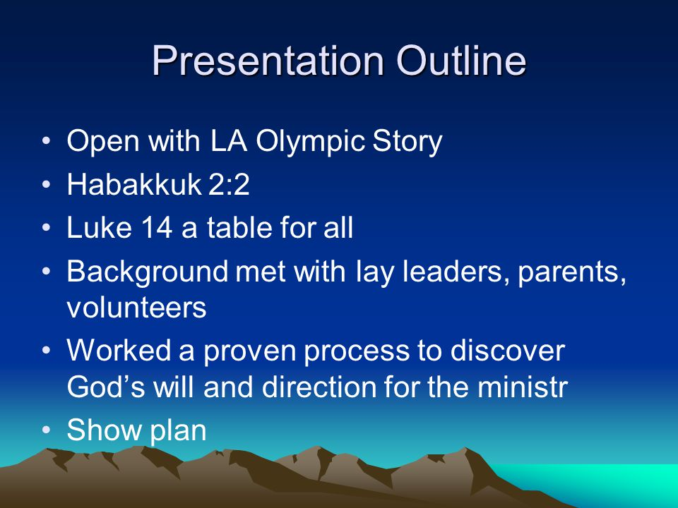 Presentation Outline Open with LA Olympic Story Habakkuk 2:2