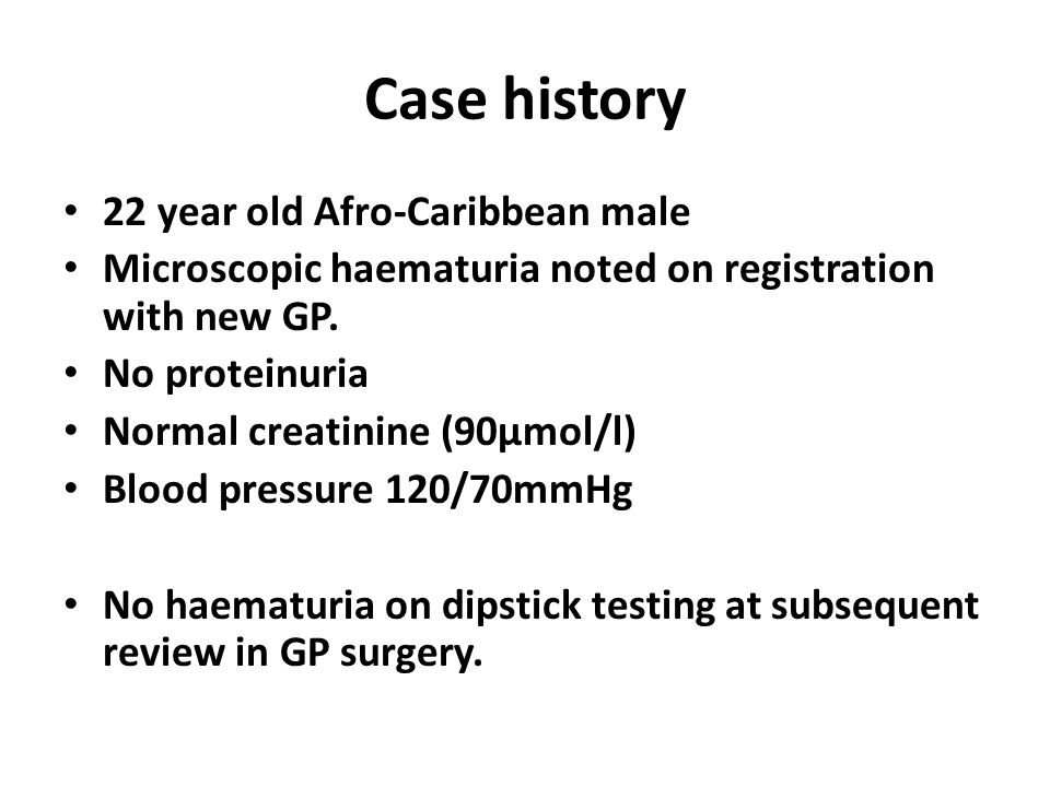 Case history 22 year old Afro-Caribbean male