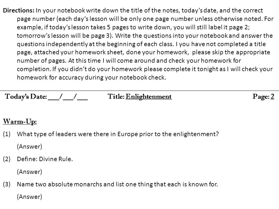 Today's Date: ___/___/___ Title: Enlightenment Page: 2