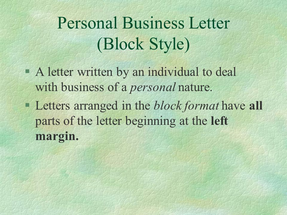 Personal Business Letter (Block Style)