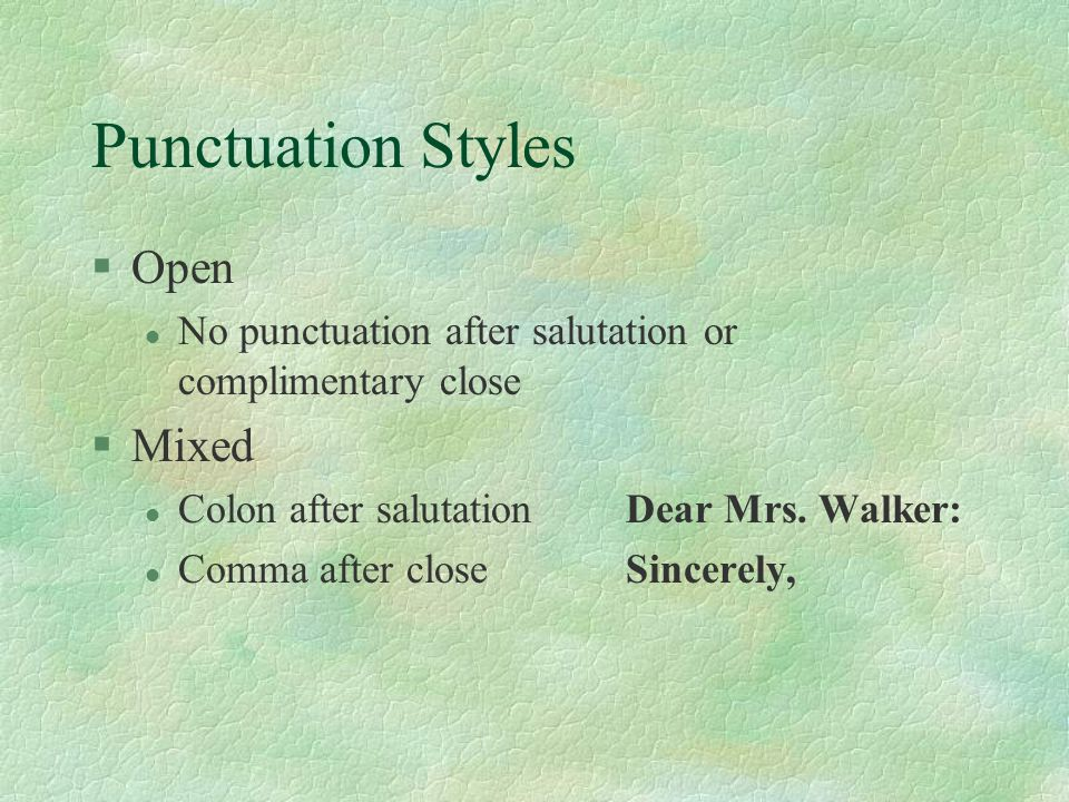 Punctuation Styles Open Mixed
