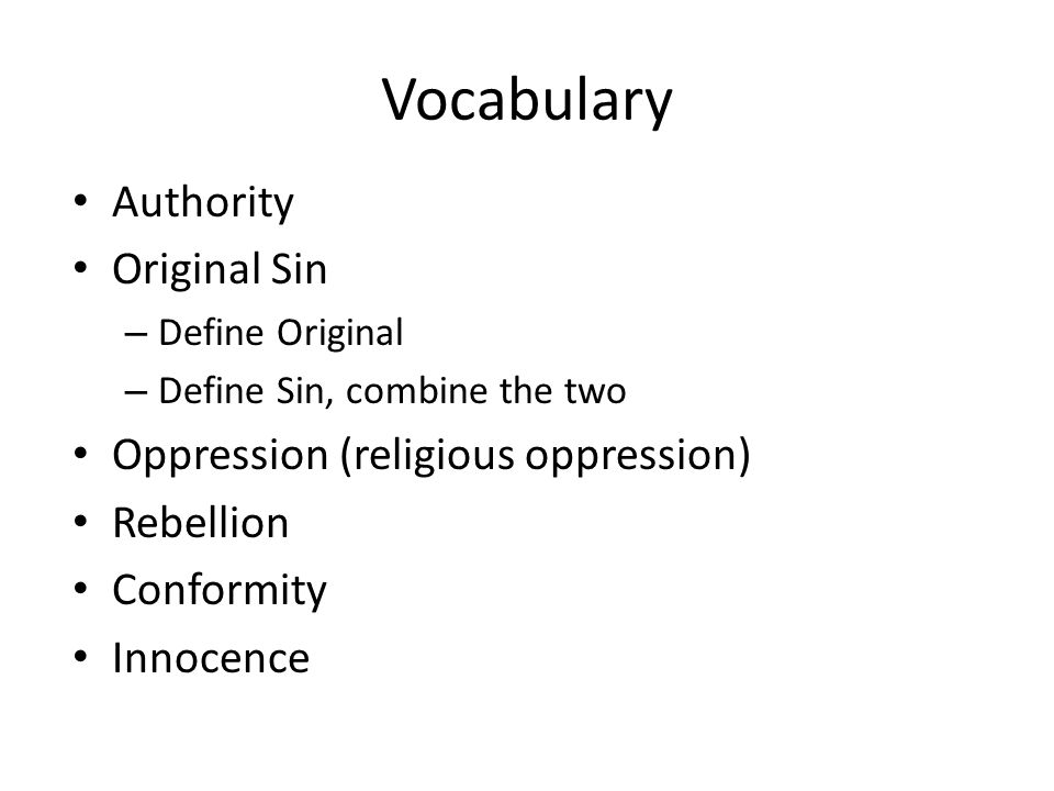 Vocabulary Authority Original Sin Oppression (religious oppression)