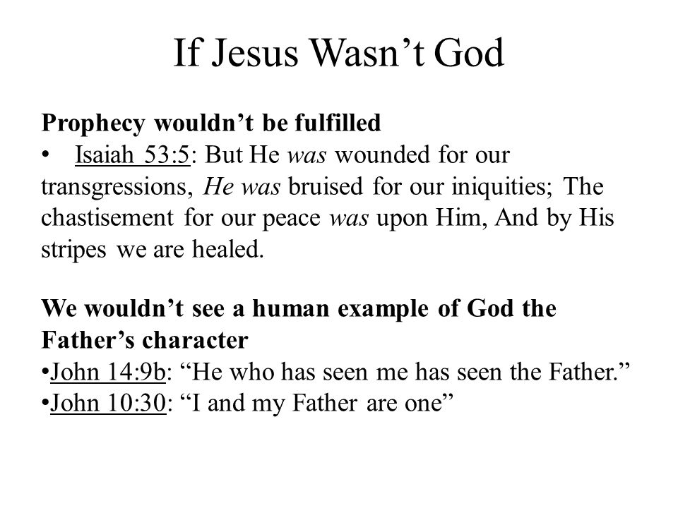 If Jesus Wasn't God Prophecy wouldn't be fulfilled