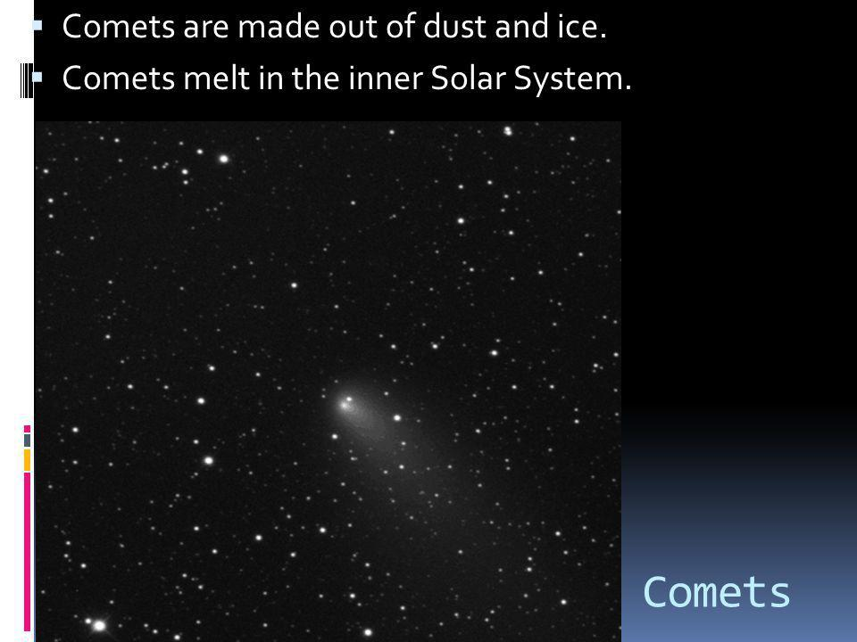 Comets Comets are made out of dust and ice.