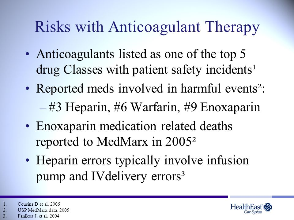 Risks with Anticoagulant Therapy