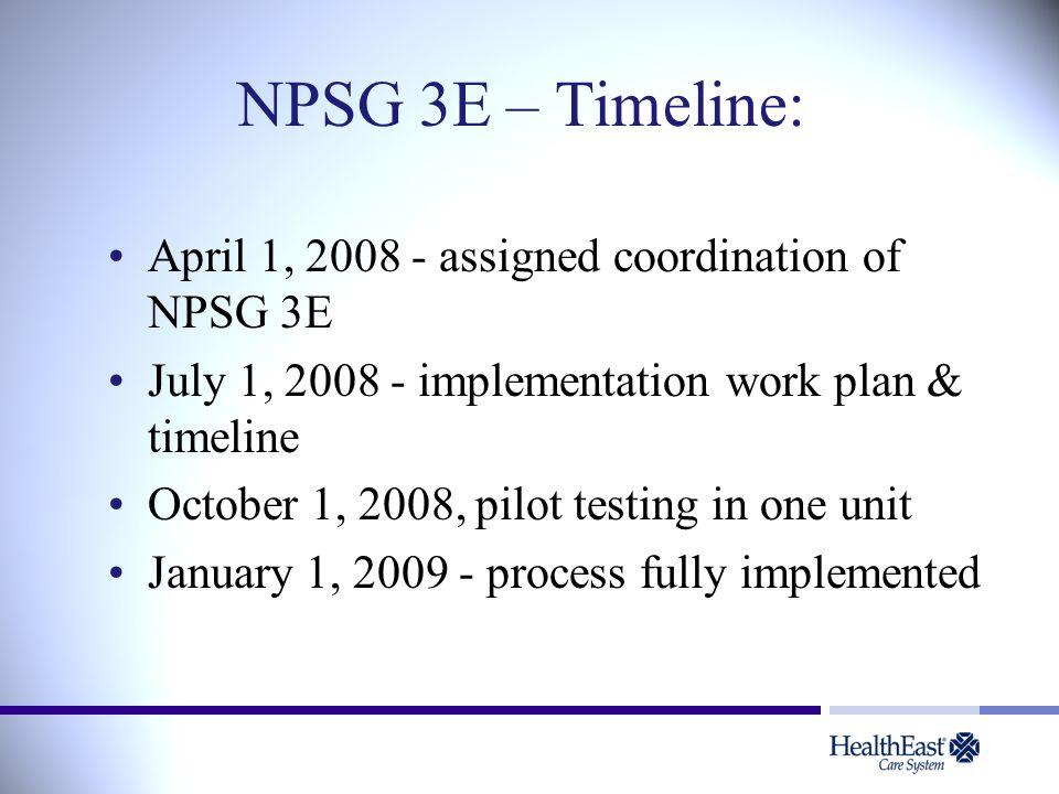 NPSG 3E – Timeline: April 1, 2008 - assigned coordination of NPSG 3E