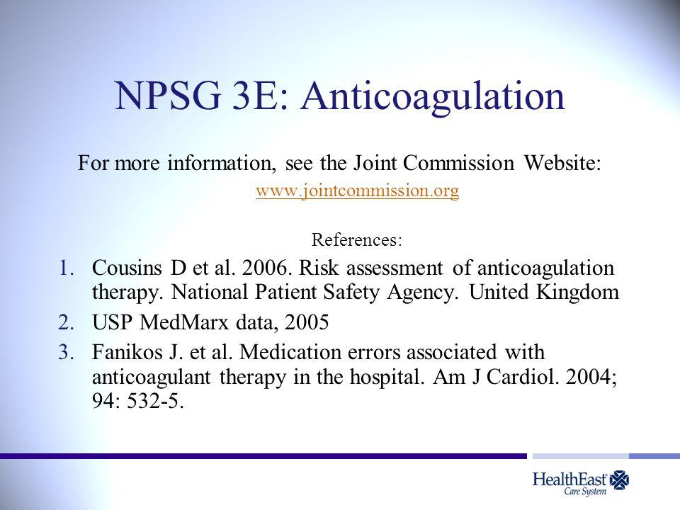 NPSG 3E: Anticoagulation