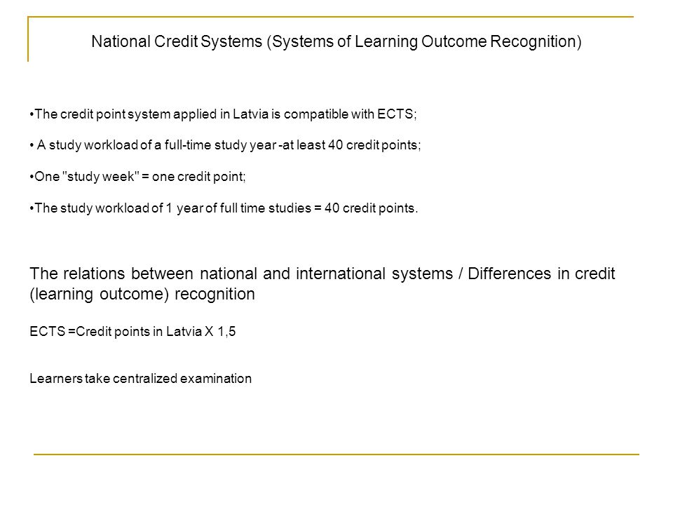 National Credit Systems (Systems of Learning Outcome Recognition)