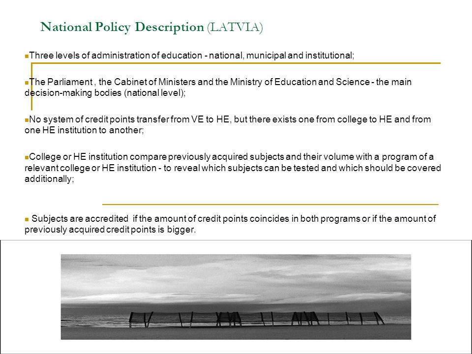 National Policy Description (LATVIA)