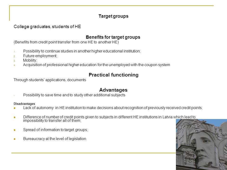 Benefits for target groups