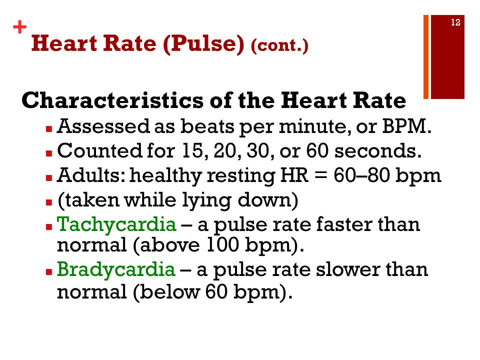 Heart Rate (Pulse) (cont.)