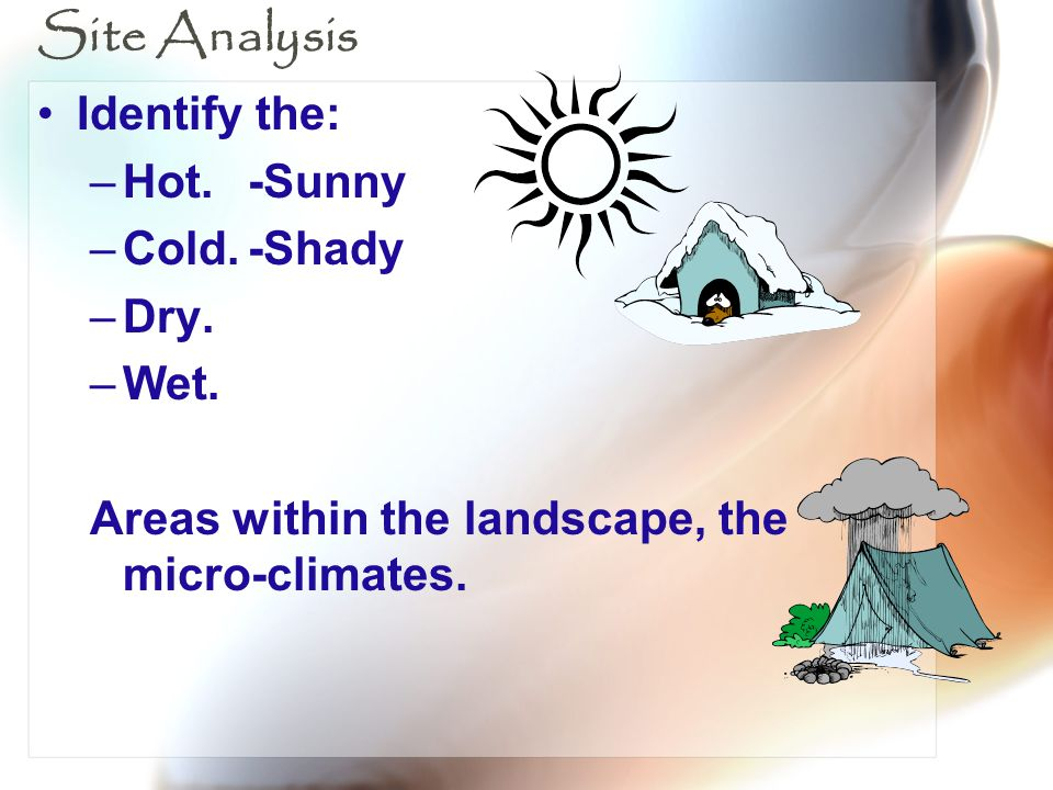 Site Analysis Identify the: Hot. -Sunny Cold. -Shady Dry. Wet.