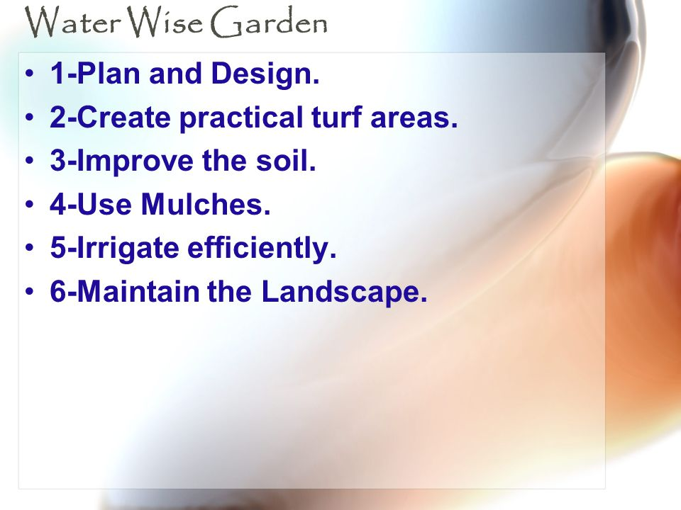 Water Wise Garden 1-Plan and Design. 2-Create practical turf areas.