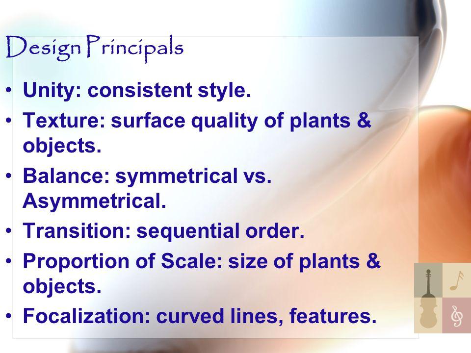 Design Principals Unity: consistent style.