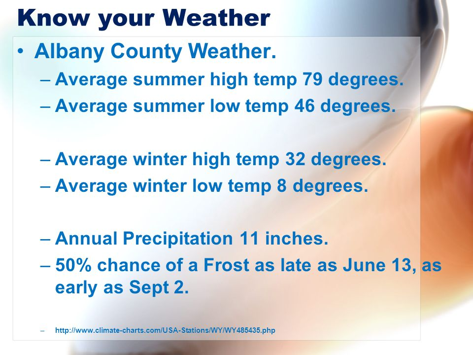 Know your Weather Albany County Weather.