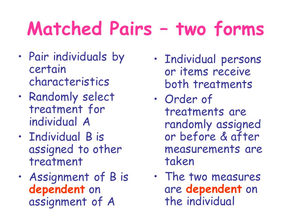 Matched Pairs – two forms