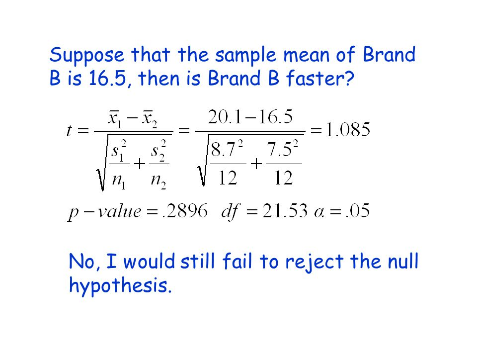 Suppose that the sample mean of Brand B is 16