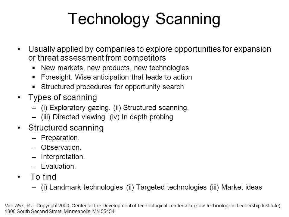 Technology Scanning Types of scanning Structured scanning