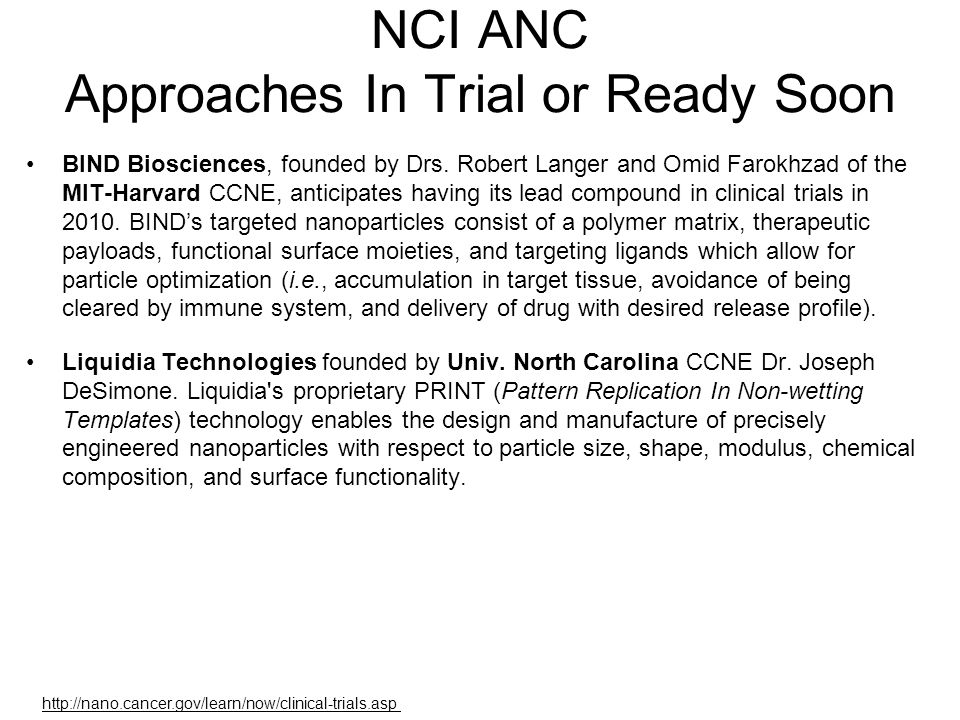 NCI ANC Approaches In Trial or Ready Soon