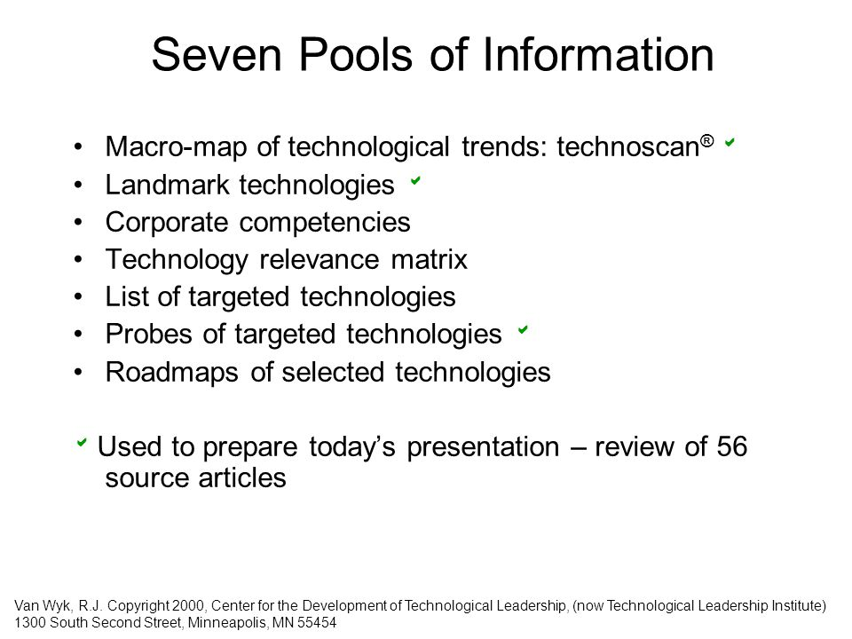 Seven Pools of Information