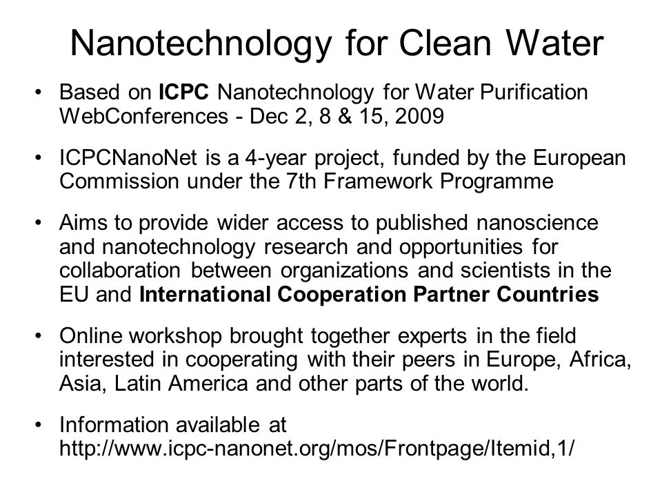 Nanotechnology for Clean Water