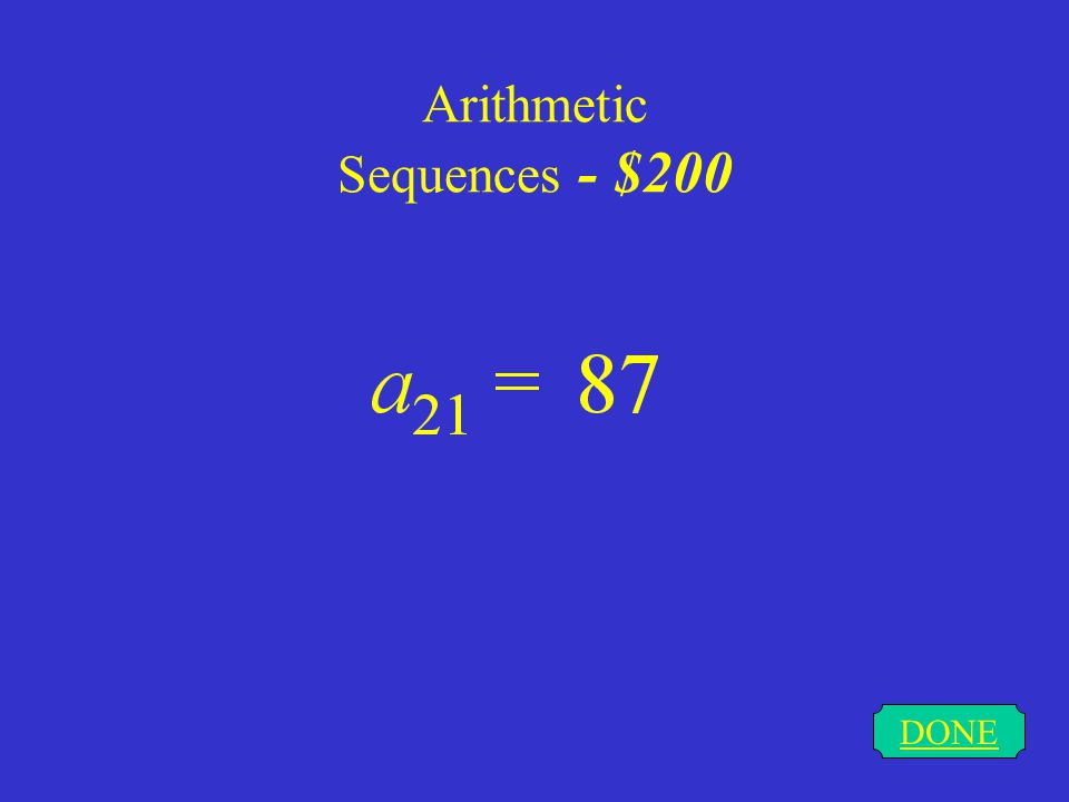 Arithmetic Sequences - $200