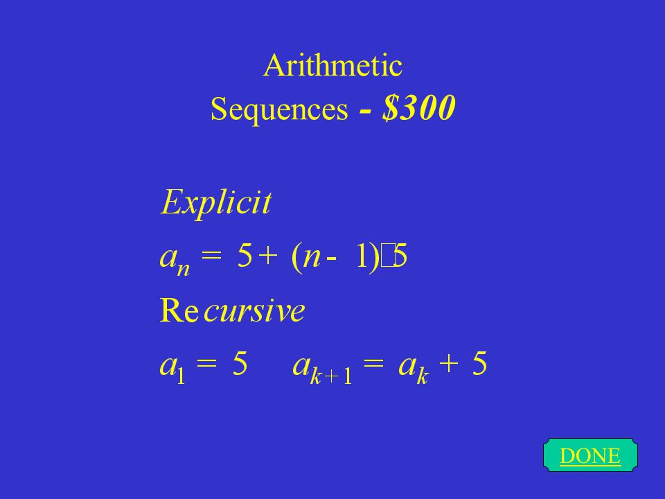 Arithmetic Sequences - $300