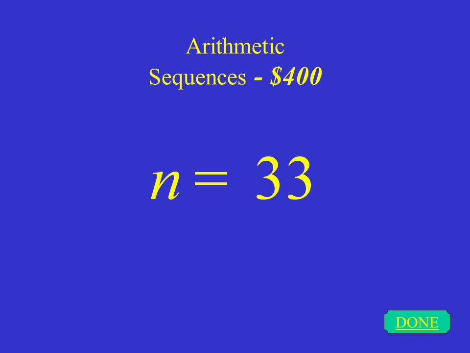 Arithmetic Sequences - $400