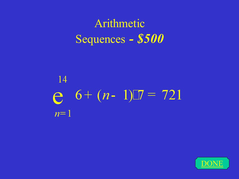 Arithmetic Sequences - $500