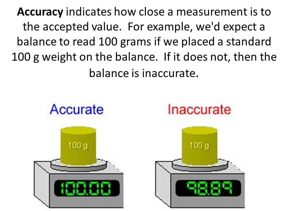 Accuracy indicates how close a measurement is to the accepted value