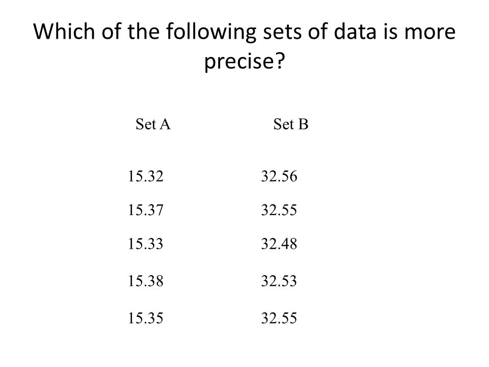 Which of the following sets of data is more precise