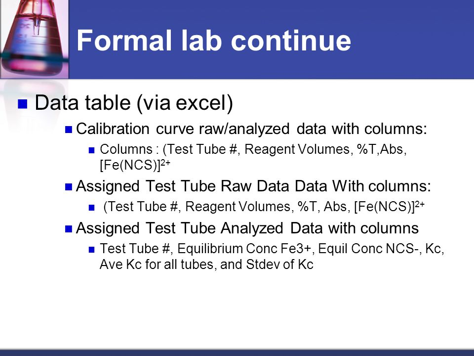 Formal lab continue Data table (via excel)