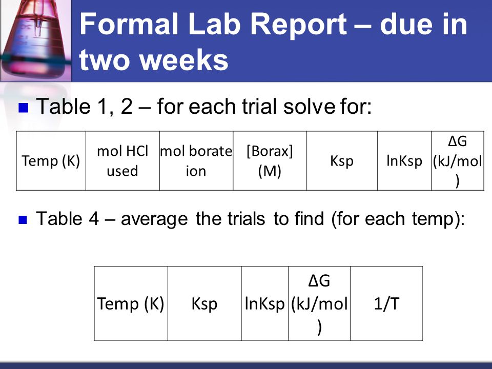 Formal Lab Report – due in two weeks