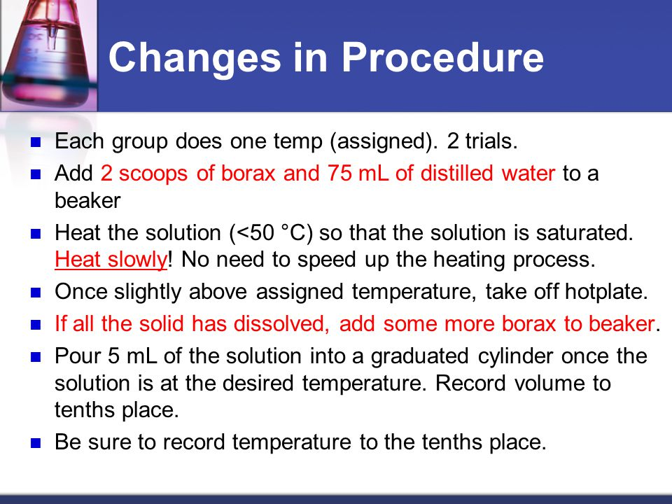 Changes in Procedure Each group does one temp (assigned). 2 trials.