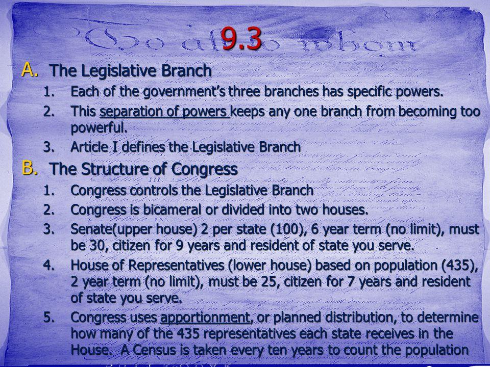 9.3 The Legislative Branch The Structure of Congress