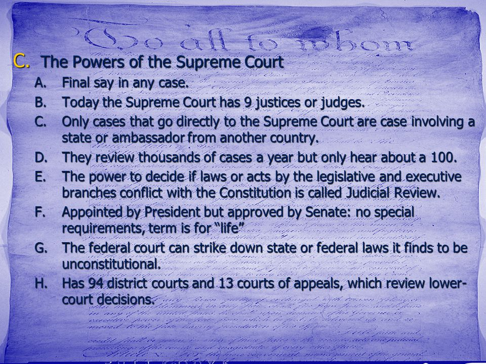 The Powers of the Supreme Court