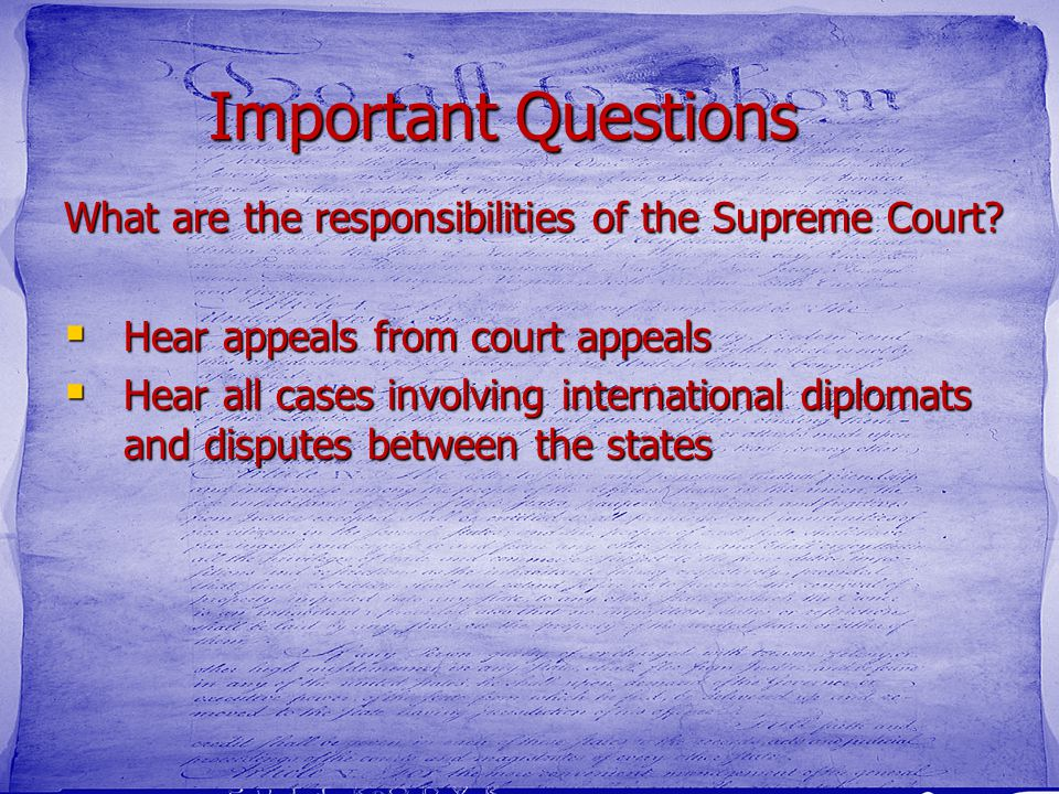 the role and importance of the supreme court Sometimes, the chief justice will assume personal responsibility for writing the court's most important or controversial decisions sometimes he will assign that responsibility to othersthe supreme court is often colloquially referred to by the name of the chief justice - for example, the rehnquist court or the warren court.