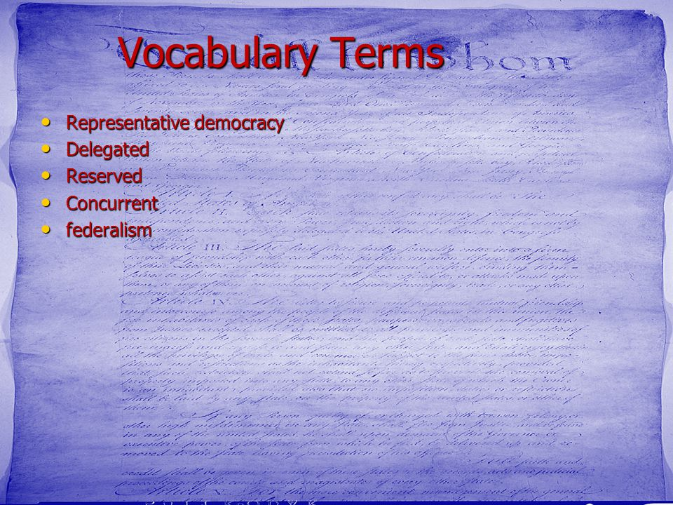 Vocabulary Terms Representative democracy Delegated Reserved