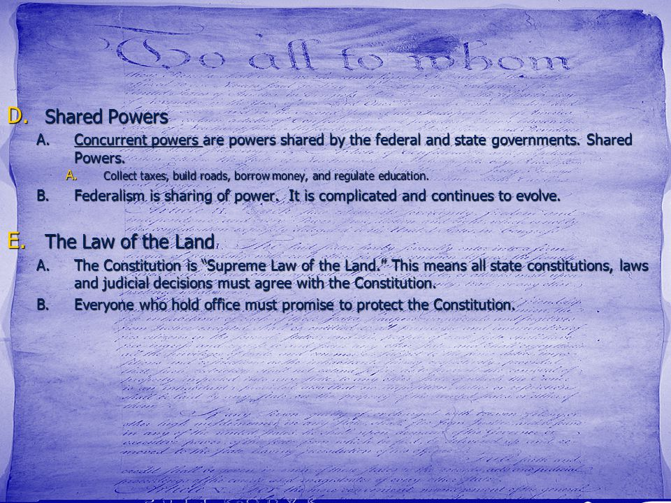 Shared Powers The Law of the Land