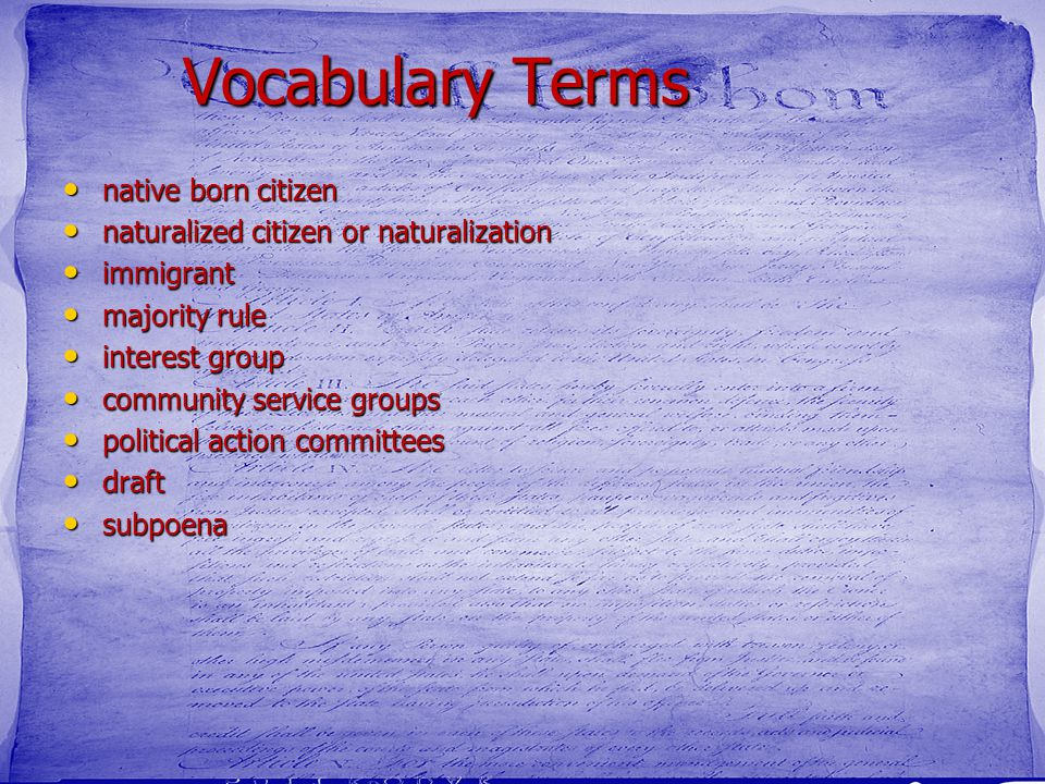 Vocabulary Terms native born citizen