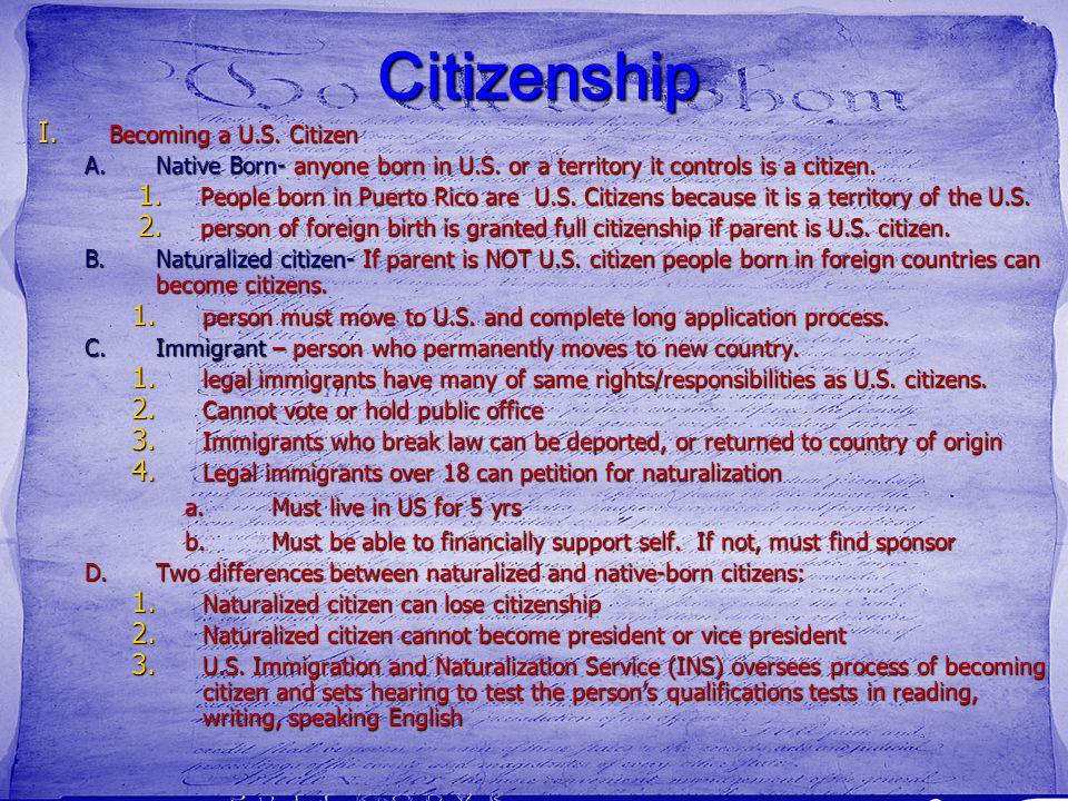Citizenship Becoming a U.S. Citizen