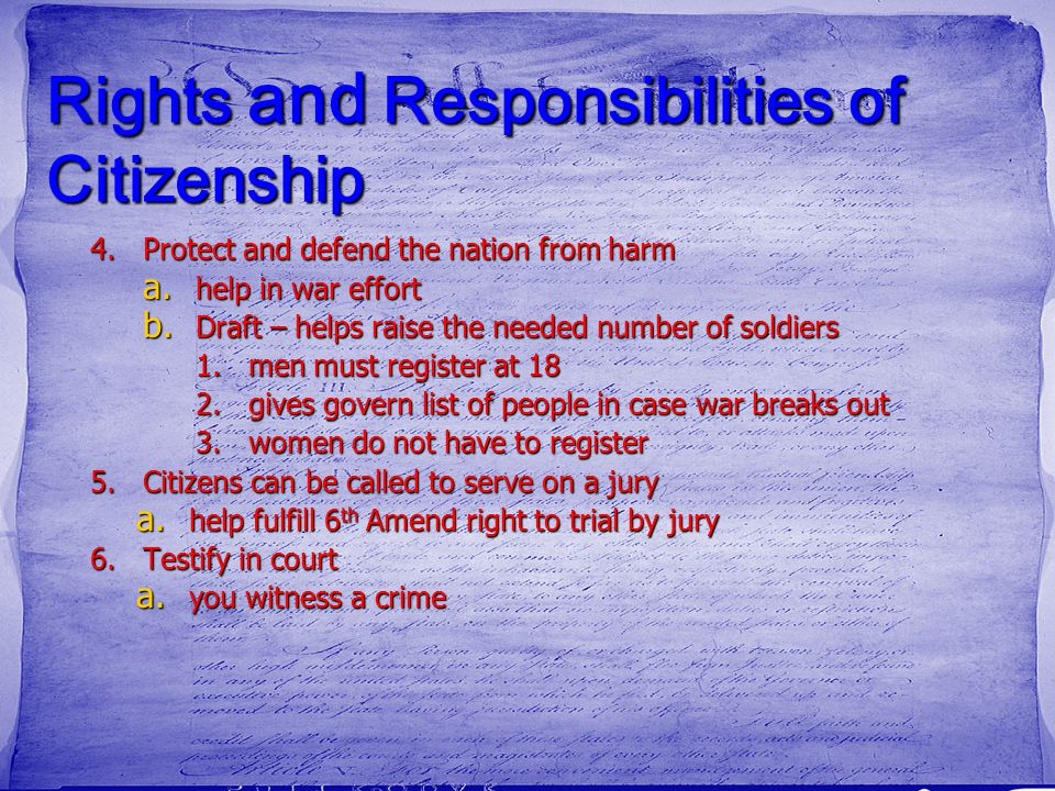 Rights and Responsibilities of Citizenship