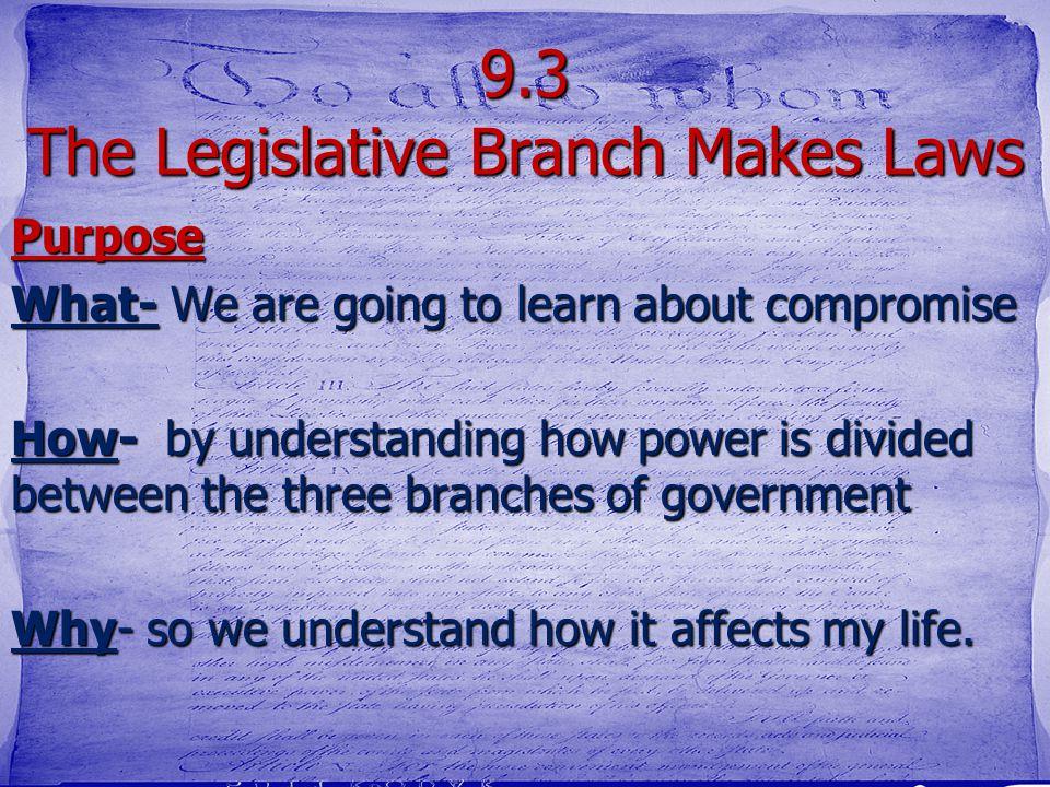 9.3 The Legislative Branch Makes Laws