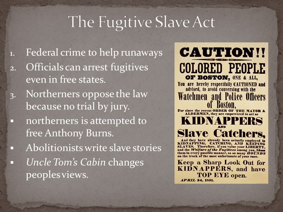 The Fugitive Slave Act Federal crime to help runaways