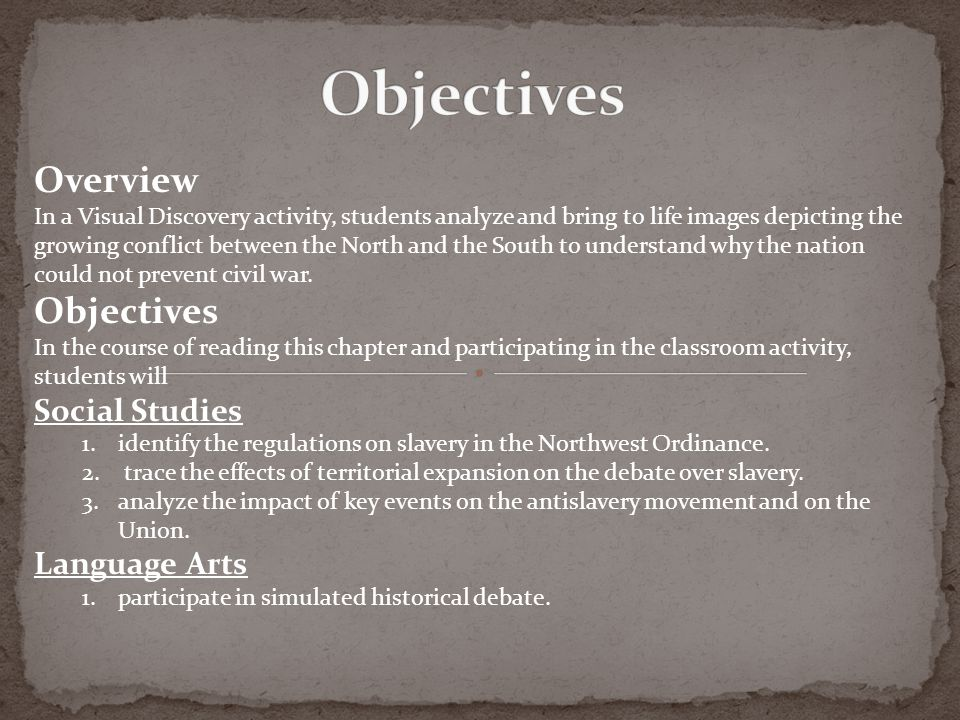 Objectives Overview Objectives Social Studies Language Arts