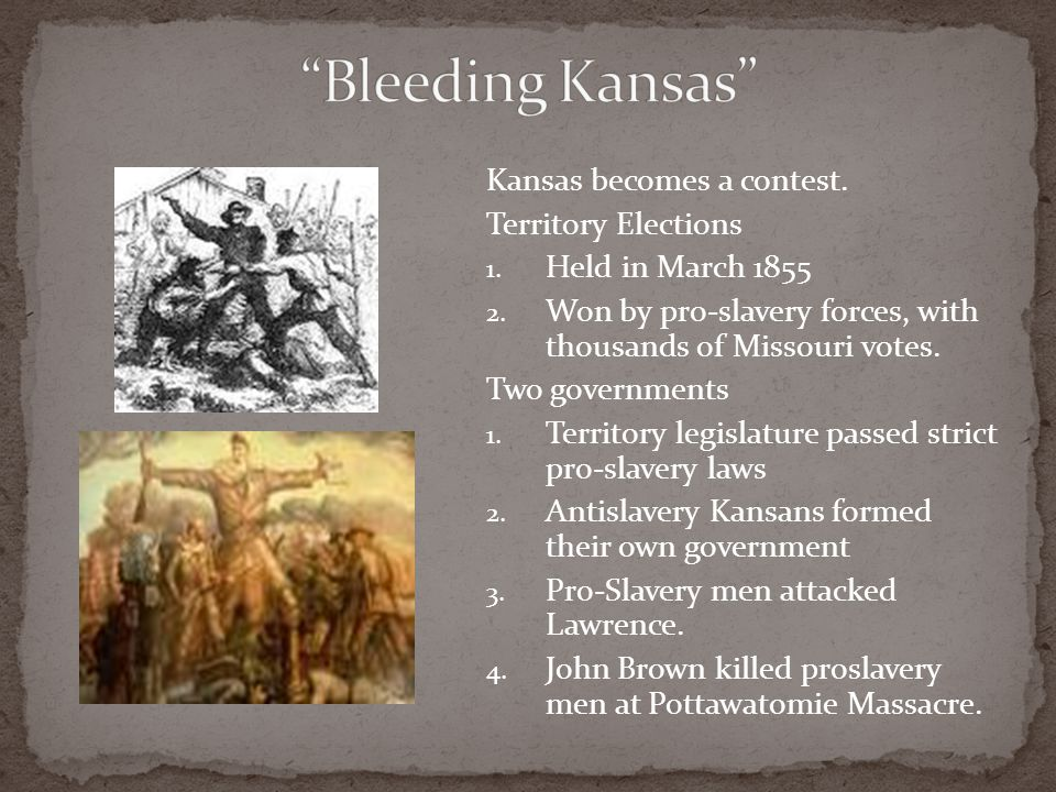 Bleeding Kansas Kansas becomes a contest. Territory Elections